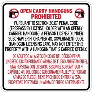 No Open Carry Signs for Texas
