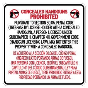No Concealed Carry Signs for Texas