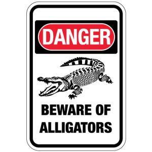 "Warning Signs - ""Danger Beware of Alligators"""