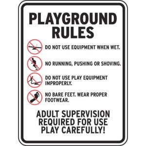 """Playground Rules Sign - """"Supervision Required"""""""