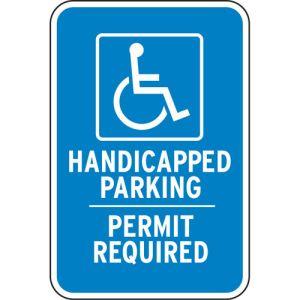 "Handicap Parking Signs - ""Permit Required"" Symbol"