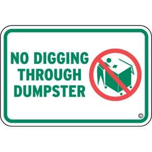 """Dumpster Rules Signs - """"No Digging"""""""