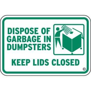 """Dumpster Rules Signs - """"Keep Lids Closed"""""""