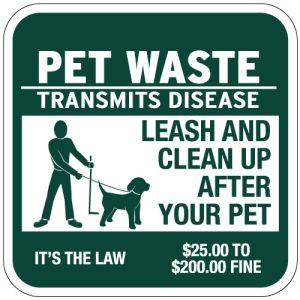"Pet Waste Signs - ""Transmits Disease"" Square"