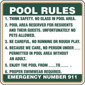 "Pool Sign - ""Pool Rules"""