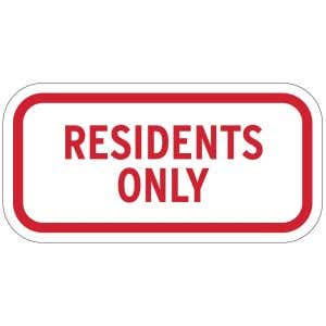 """Resident Parking Signs - """"Residents Only"""""""