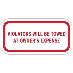 "No Parking Signs - ""Violators Will Be Towed"""