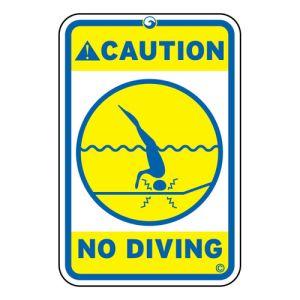 Caution No Diving Aluminum Sign