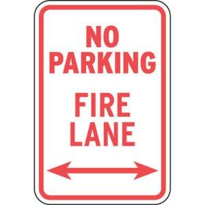 """Fire Lane Signs - """"No Parking Sign"""" Arrows"""