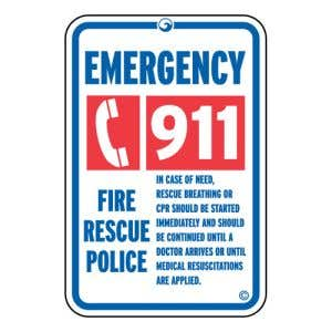 Pool Signs - Emergency 911 Phone Symbol - Aluminum