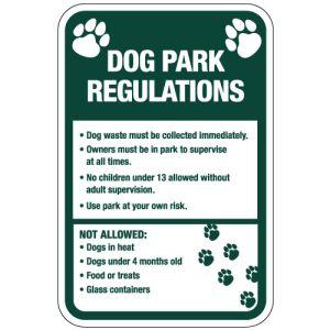 """Dog Park Sign - """"Dog Park Regulations"""" Paw Prints"""