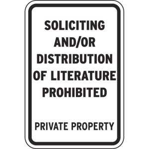 """Private Property Signs - """"Soliciting Prohibited"""""""