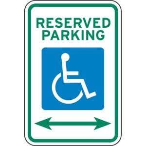 """Handicap Parking Signs - """"Reserved"""" with Arrows"""