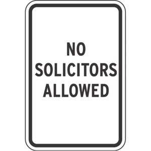 No Solicitors Allowed Sign