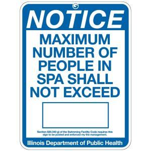 "Pool Sign - ""Spa Capacity"" - Illinois"