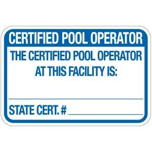 """Pool Sign - """"Certified Pool Operator"""" - New Jersey"""