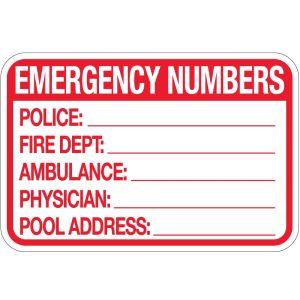"""Pool Sign - """"Emergency Numbers"""""""