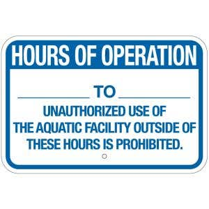 """Pool Sign - """"Hours of Operation"""" - Delaware"""