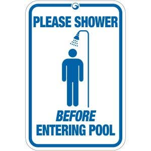 """Pool Sign - """"Shower Before Entering Pool"""""""