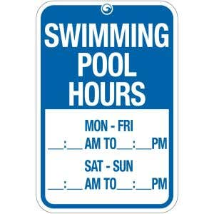 """Pool Sign - """"Swimming Pool Hours"""""""
