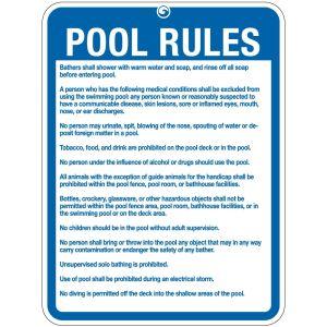 """Pool Sign - """"Pool Rules"""" - Alaska"""