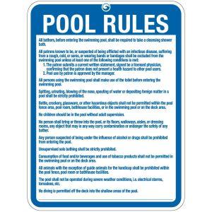 "Pool Sign - ""Pool Rules"" - California"