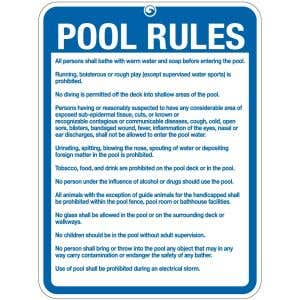 """Pool Sign - """"Pool Rules"""" - Connecticut"""