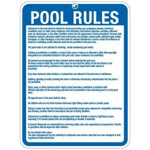 """Pool Sign - """"Pool Rules"""" - Illinois"""