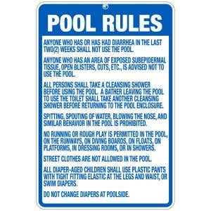 """Pool Sign - """"Pool Rules"""" - Indiana"""