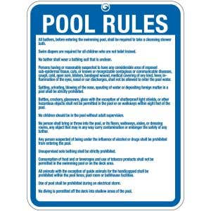 """Pool Sign - """"Pool Rules"""" - Massachusetts and West Virginia"""