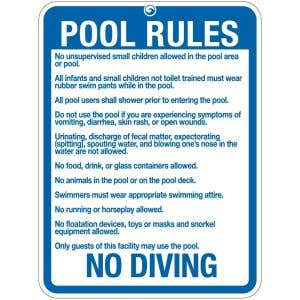 """Pool Sign - """"Pool Rules"""" - Maine"""