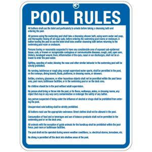 "Pool Sign - ""Pool Rules"" - Michigan"