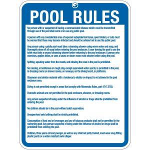 """Pool Sign - """"Pool Rules"""" - Minnesota"""