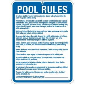 """Pool Sign - """"Pool Rules"""" - New Hampshire"""