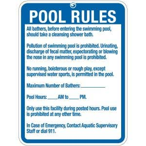 "Pool Sign - ""Pool Rules"" - New York"