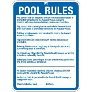"Pool Sign - ""Pool Rules"" - Rhode Island"