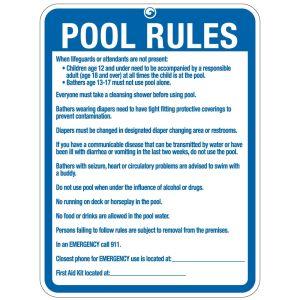"Pool Sign - ""Pool Rules"" - Washington"
