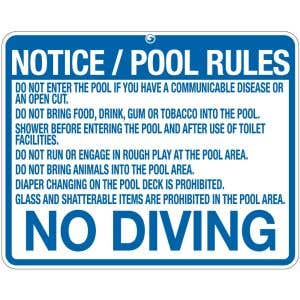 """Pool Sign - """"Notice/Pool Rules"""" - Wisconsin"""