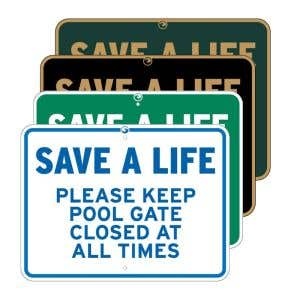 """Pool Signs - """"Save a Life"""""""