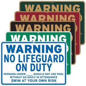 "Pool Signs - ""Warning No Lifeguard on Duty"""