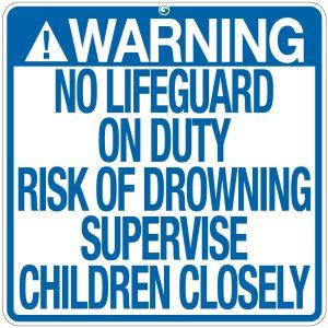"Pool Sign - ""No Lifeguard"" - Georgia"