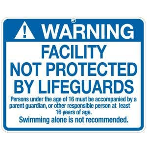 "Pool Sign - ""No Lifeguard"" - Illinois"
