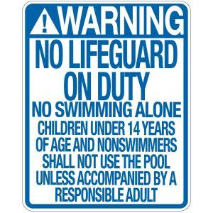 """Pool Sign - """"No Lifeguard"""" - Indiana"""