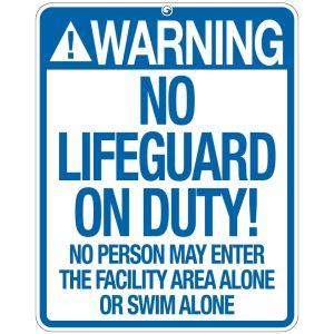 """Pool Sign - """"No Lifeguard"""" - Kentucky"""