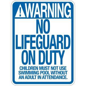 """Pool Sign - """"No Lifeguard"""" - Minnesota"""