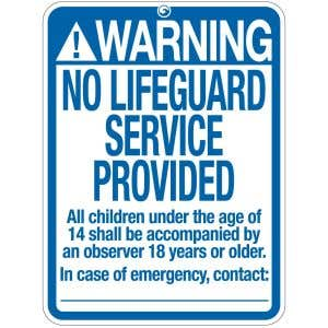"Pool Sign - ""No Lifeguard"" - New Mexico"