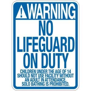 "Pool Sign - ""No Lifeguard"" - Nevada"