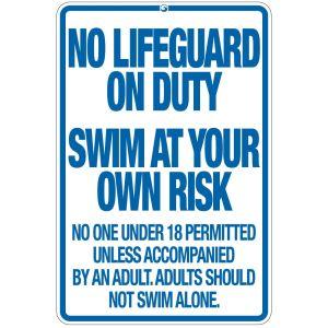 "Pool Sign - ""No Lifeguard"" - Rhode Island"