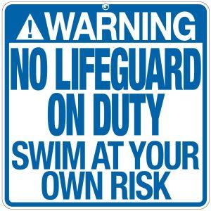 """Pool Sign - """"No Lifeguard"""" - South Carolina"""