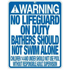 "Pool Sign - ""No Lifeguard"" - Utah"